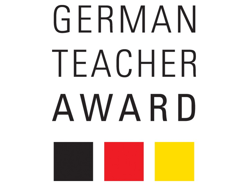"A graphic which reads ""German teacher award"" with a stylised German flag underneath"